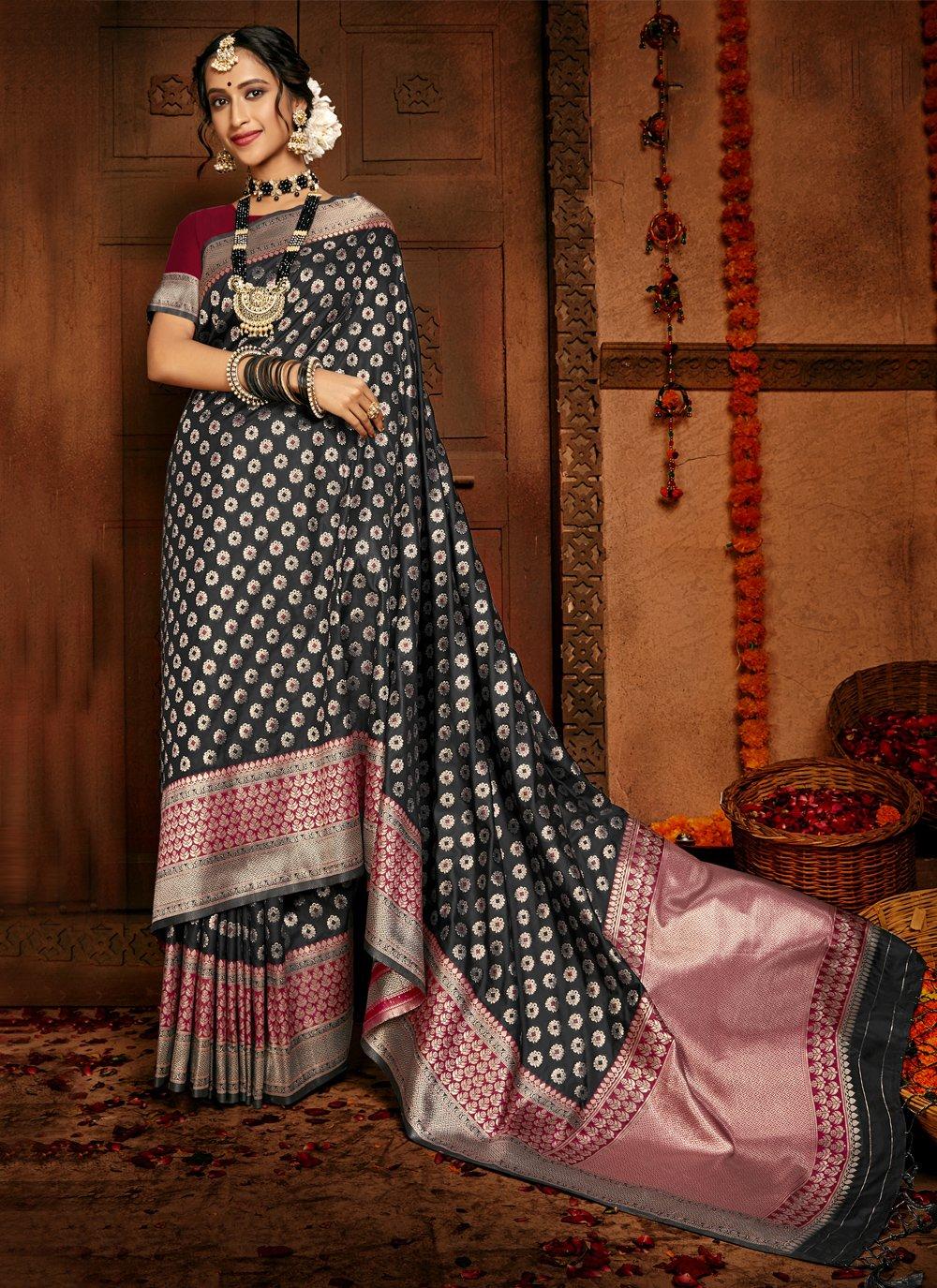 Black Color Traditional Saree