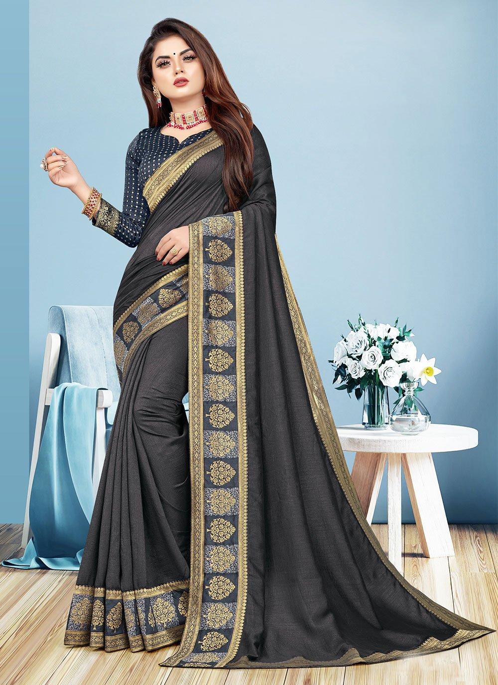 Black Color Trendy Saree