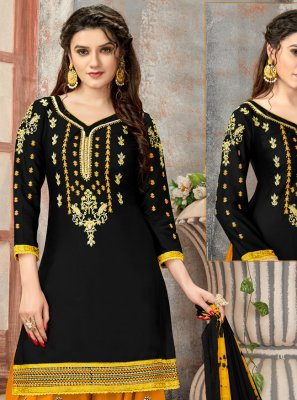 Black Cotton Designer Patiala Suit