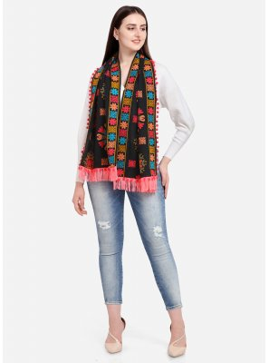 Black Cotton Embroidered Designer Dupatta