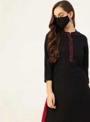 Black Cotton Fancy Party Wear Kurti
