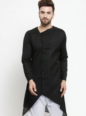 Black Cotton Kurta Pyjama