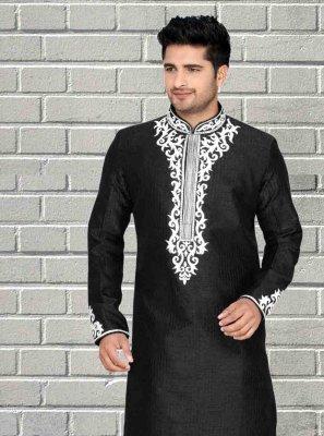 Black Embroidered Art Dupion Silk Kurta Pyjama