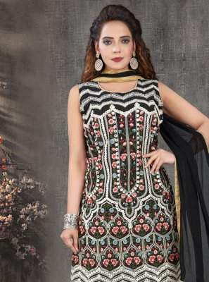 Black Embroidered Ceremonial Palazzo Designer Salwar Kameez