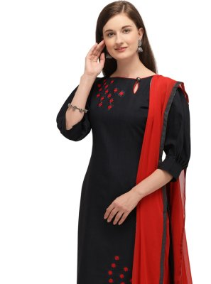 Black Embroidered Churidar Salwar Suit
