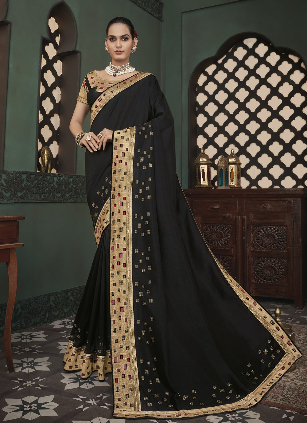 Black Embroidered Classic Saree