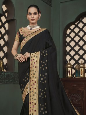 Black Embroidered Classic Saree