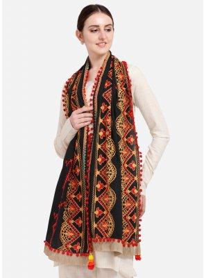 Black Embroidered Designer Dupatta