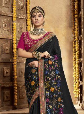 Black Embroidered Designer Traditional Saree
