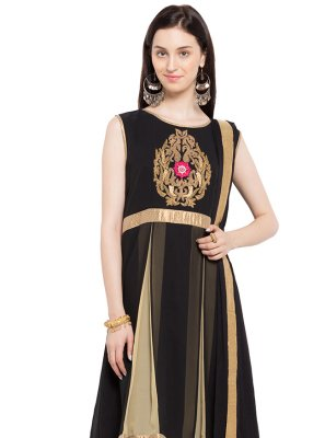 Black Embroidered Faux Georgette Indo Western