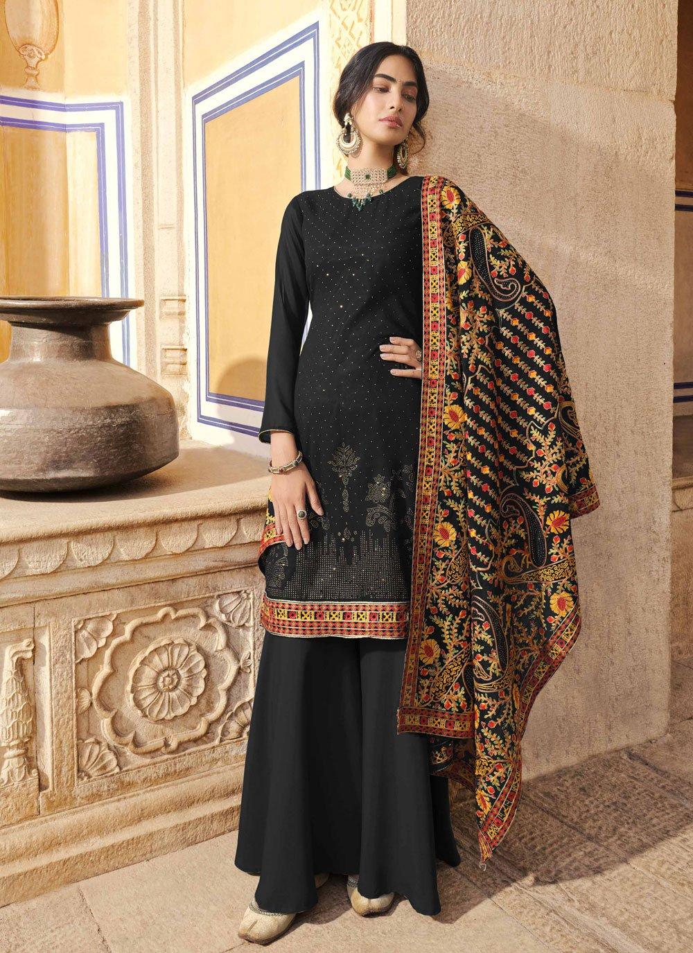 Black Embroidered Festival Designer Pakistani Suit