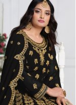 Black Embroidered Georgette Floor Length Salwar Kameez