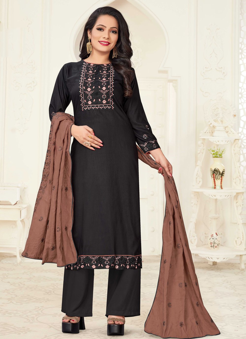 Black Embroidered Linen Readymade Suit