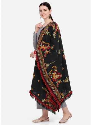 Black Embroidered Mehndi Designer Dupatta