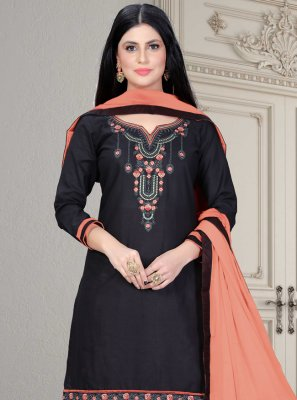 Black Embroidered Patiala Salwar Suit
