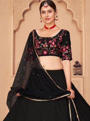 Black Embroidered Sangeet Lehenga Choli