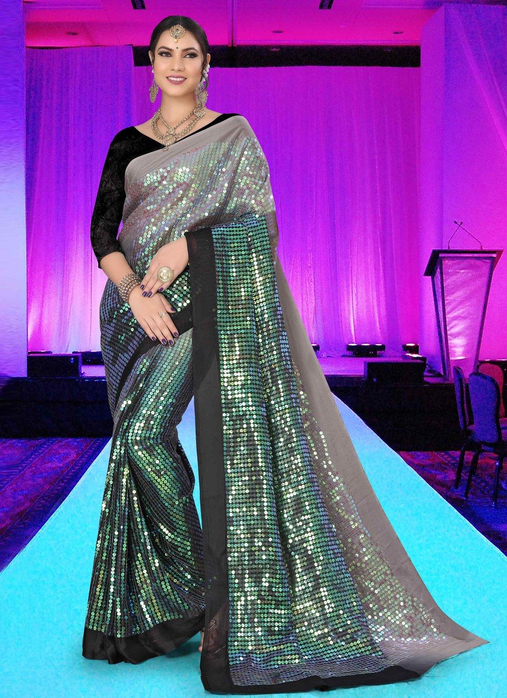 Black Embroidered Silk Trendy Saree