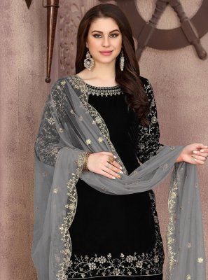 Black Embroidered Trendy Patiala Suit