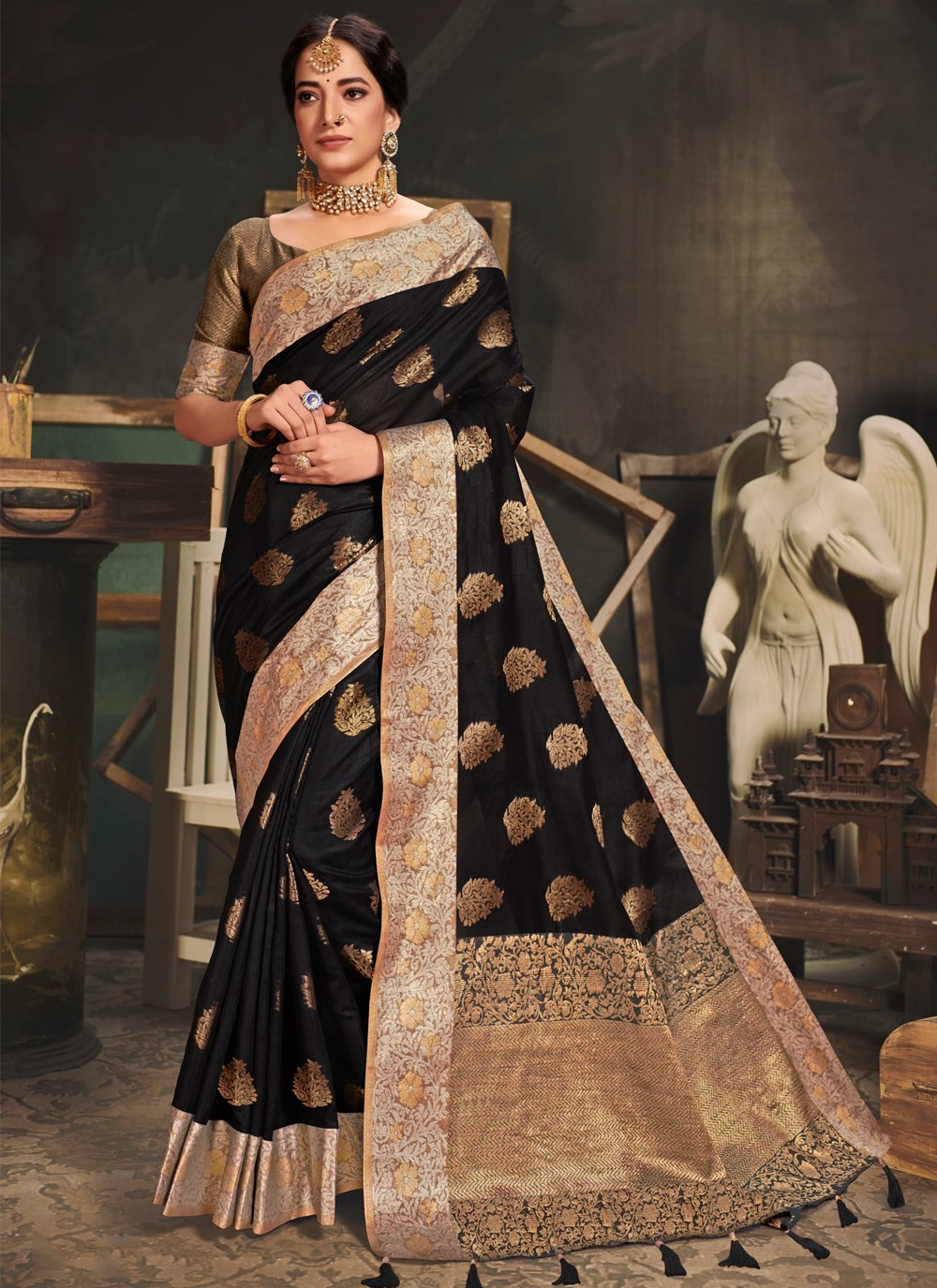 Black Engagement Traditional Saree