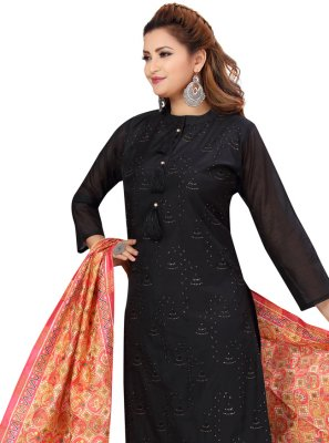 Black Fancy Chanderi Readymade Suit