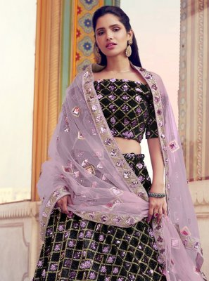 Black Fancy Fabric Lehenga Choli