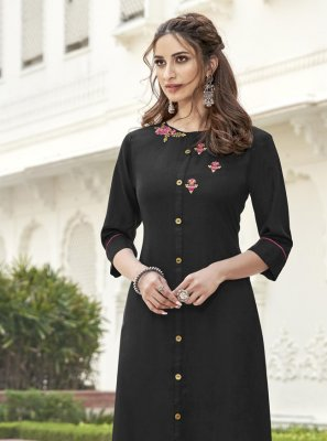 Black Fancy Fabric Party Wear Kurti