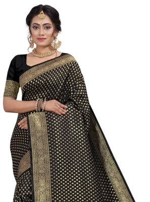 Black Fancy Silk Designer Traditional Saree