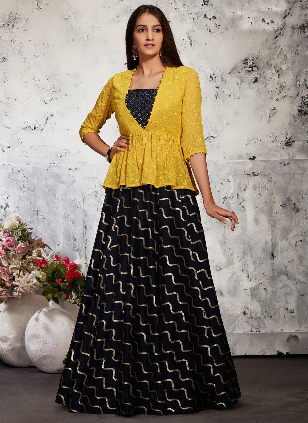 Black Fancy Silk Readymade Lehenga Choli