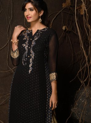 Black Faux Georgette Festival Party Wear Kurti