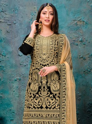 Black Faux Georgette Party Bollywood Salwar Kameez