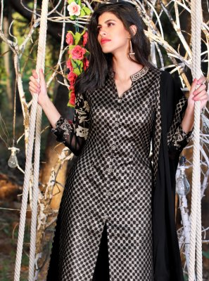 Black Faux Georgette Readymade Suit