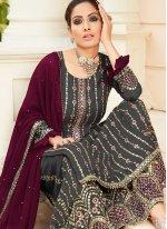 Black Faux Georgette Sangeet Designer Palazzo Suit
