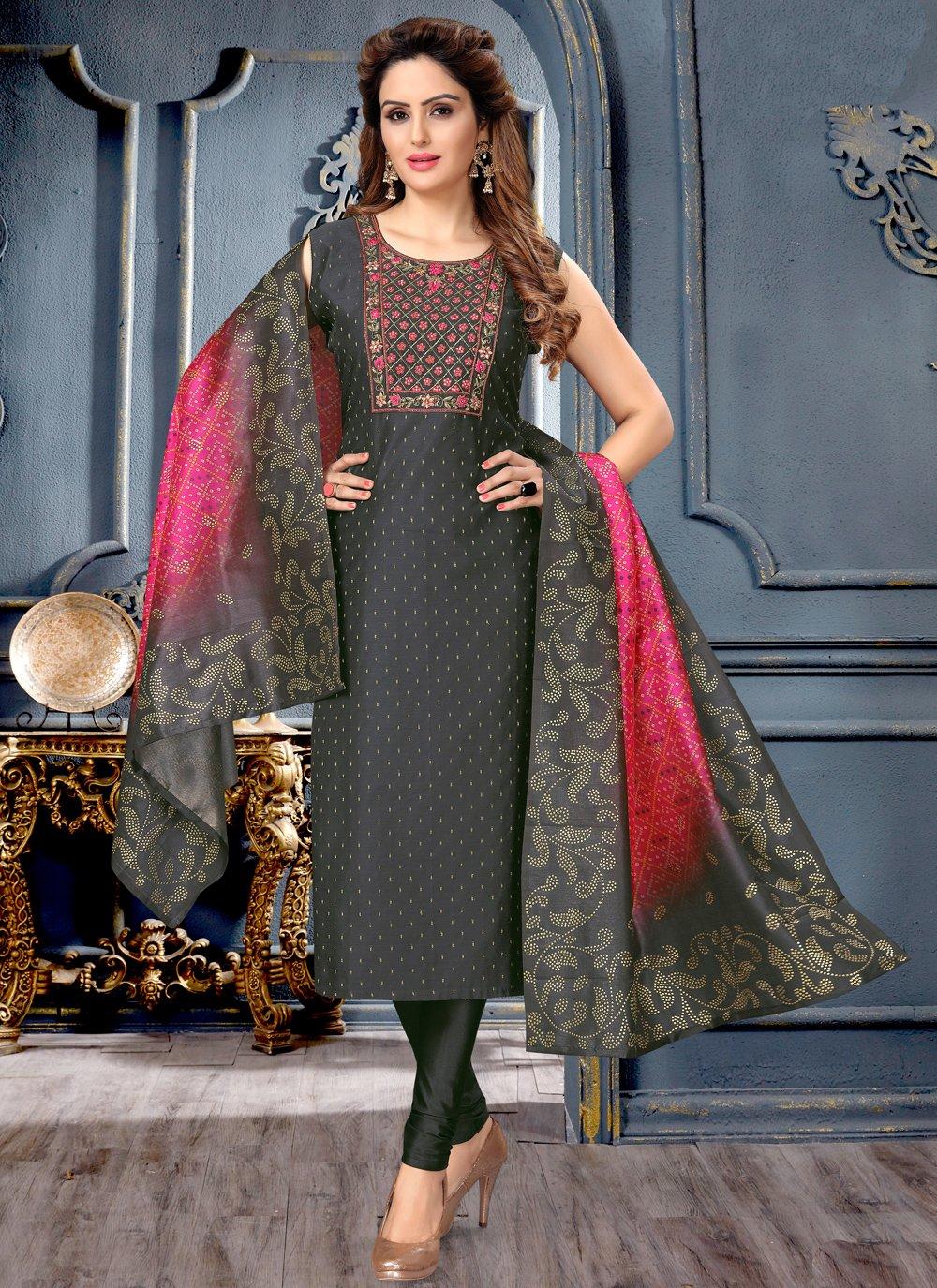 Black Festival Art Silk Designer Suit