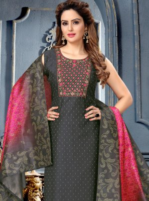 Black Festival Art Silk Designer Suit