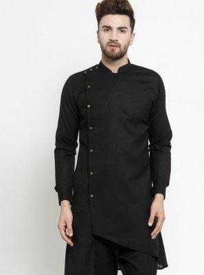 Black Festival Cotton Kurta Pyjama