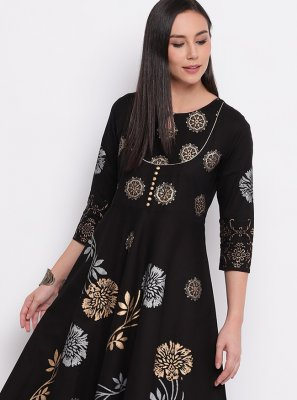 Black Festival Cotton Party Wear Kurti