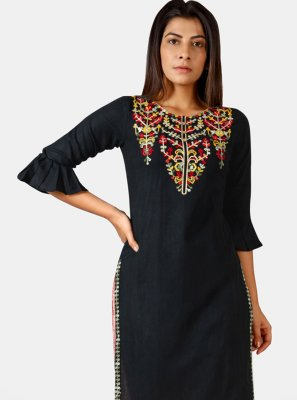 Black Festival Khadi Party Wear Kurti