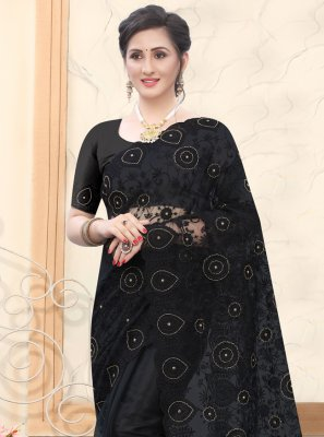 Black Festival Net Designer Saree