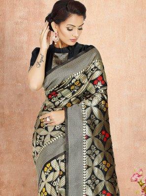Black Festival Poly Silk Traditional Saree