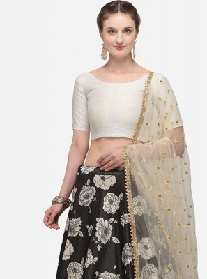 Black Festival Satin Silk Lehenga Choli