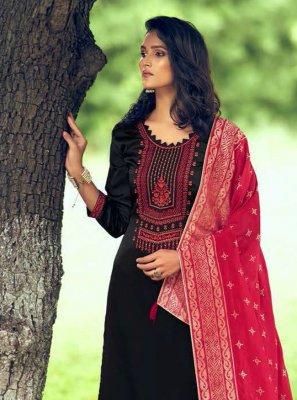 Black Festival Silk Designer Palazzo Salwar Kameez