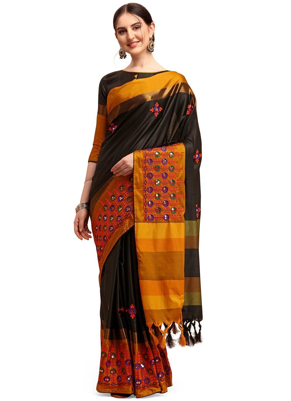 Black Festival Traditional Saree