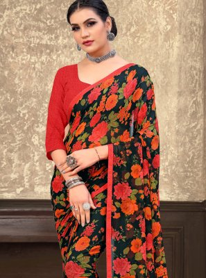 Black Floral Print Festival Bollywood Saree