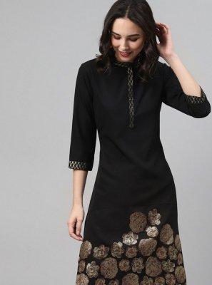 Black Foil Print Party Wear Kurti