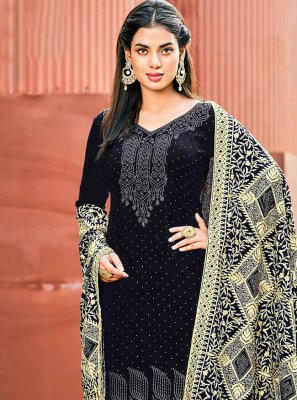 Black Georgette Embroidered Pant Style Suit