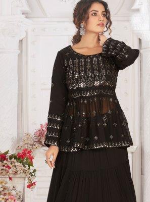 Black Georgette Readymade Lehenga Choli