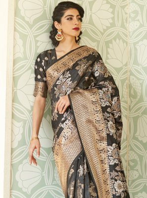 Black Handloom silk Weaving Designer Traditional Saree