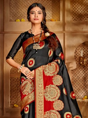 Black Jacquard Silk Weaving Designer Traditional Saree