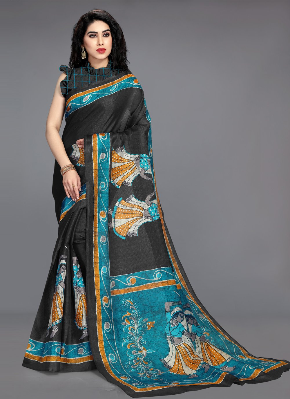 Black Khadi Silk Casual Printed Saree