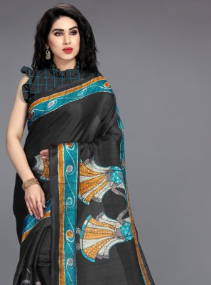Black Khadi Silk Casual Printed Saree